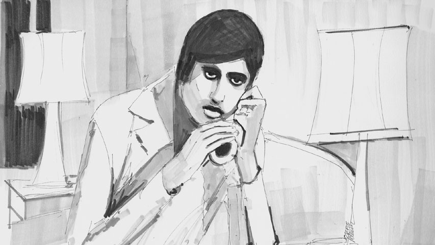 Sunil talking on the phone to Baljeet