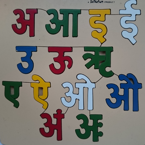 image of wooden Devanagari vowels
